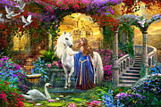Brave Digital Art Prints - Princess and Unicorn in the Cloisters Print by MGL Meiklejohn Graphics Licensing