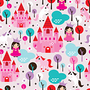 Girls Mixed Media - Princess and Unicorns illustration for kids by Little Smilemakers Studio