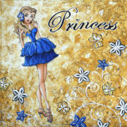 Peach Dress Prints - PRINCESS by MADART Print by Megan Duncanson