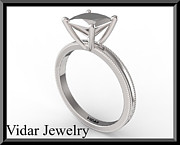 Custom Ring Jewelry - Princess Cut Engagement Ring - Unique Silver Engagement Ring by Roi Avidar