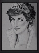 Signed Drawings - Princess Diana by Arib Alajmi