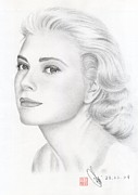 Kelly Drawings Posters - Princess Grace Kelly Poster by Eliza Lo