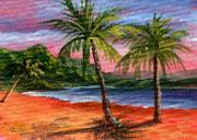 Tropical Sunset Painting Framed Prints - Princeville Kauai Framed Print by Darice Machel McGuire