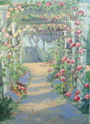 Parc Paintings - Printemps Rose Arbor in Paris by Linda  Wissler