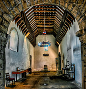 Chandelier Prints - Priory Church of St Seiriol Print by Adrian Evans