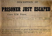 Document Framed Prints - Prisoner Escaped Framed Print by Adrian Evans