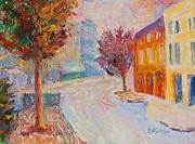 Asheville Painting Posters - Pritchard Park Dawn Poster by Lisa Blackshear