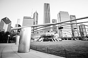 Plaza Metal Prints - Pritzker Pavilion Chicago Black and White Picture Metal Print by Paul Velgos