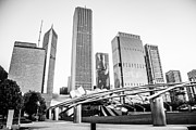 Plaza Metal Prints - Pritzker Pavilion Chicago Skyline Black and White Photo Metal Print by Paul Velgos