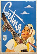 Skiing Art Print Prints - Private Collection. Poster Advertising Print by Everett