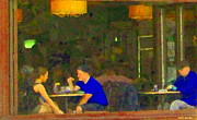 Cafe Terrace Painting Posters - Private Conversation Couple By The Window Romantic Restaurant Rendezvous Cafe Scenes Carole Spandau Poster by Carole Spandau