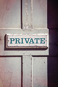 Plaque Posters - Private Doorway Poster by Edward Fielding