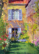 Impressionism Oil Paintings - Private Garden by Roelof Rossouw