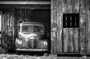 Vintage Truck Photos - Private Parking Black and White by Ken Smith