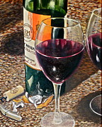 Wine Bottle Paintings - Private Selection by Tim Eickmeier