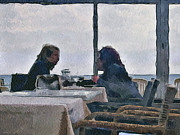 Old Town Digital Art Prints - Private talk at lunch Print by Yury Malkov