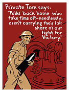 Artillery Mixed Media Posters - Private Tom Poster by War Is Hell Store