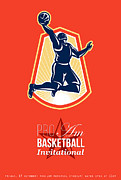 Pro Am Basketball Invitational Retro Poster Print by Aloysius Patrimonio