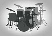 Jazz Band Art - Pro Drum Set by Daniel Hagerman