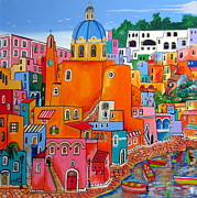 Village By The Sea Painting Prints - Procida houses Print by Roberto Gagliardi