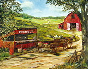 Farm Scenes Posters - Produce Stand Poster by Lee Piper