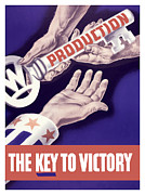 Victory Mixed Media Prints - Production The Key To Victory Print by War Is Hell Store