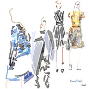 Editorial Painting Framed Prints - Proenza Schouler Pre-fall 2013 Framed Print by Jennifer Purcell