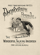 Prof. Thad Sheridan Fritz's Phonograph Festival - Vintage Advertisement From 1890 Print by Blue Monocle