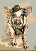 Pig Framed Prints - Professor Pigglesworth Framed Print by Alison Schmidt Carson