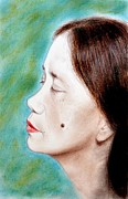 Long Hair Art - Profile of a Filipina Beauty with a mole on Her Cheek  by Jim Fitzpatrick