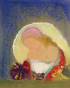 Flower Still Life Posters - Profile of a Girl with Flowers Poster by Odilon Redon