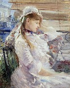 White Dress Posters - Profile of a seated young woman Poster by Berthe Morisot