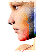 Abstract Faces Posters - Profile Of A Woman Poster by David Ridley