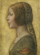 Female Portrait Paintings - Profile of a Young Fiancee by Leonardo Da Vinci
