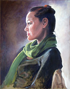 Woman With Black Hair Originals - Profile of Model with Crescent Light by Kathryn Donatelli