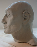 Male Portrait Sculpture Sculptures - Profile Sculpture 2 by Derrick Higgins
