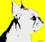 Profiling The Frenchie In Yellow Print by Barbara Chichester