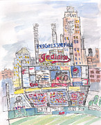 Cleveland Indians Paintings - Progessive Field by Matt Gaudian