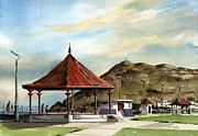 Bandstand Paintings - Prom Bandstand Bray Wicklow by Val Byrne