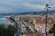 Far Above Framed Prints - Promenade des Anglais and Cours Saleya from Above - Nice France French Riviera Framed Print by Georgia Mizuleva