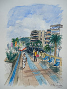 South Of France Mixed Media - Promenade by Helen J Pearson