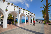 Flowerpot Photos - Promenade in Nerja by Artur Bogacki