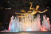 John Telfer Photography Prints - Prometheus Greek Statue in Rockefeller Ice Rink Print by John Telfer