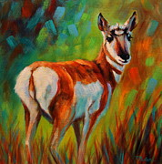 Abstract Wildlife Painting Prints - Pronghorn Doeling Print by Theresa Paden