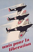 Vintage Air Planes Posters - Propaganda poster for liberation from World War II Poster by Anonymous