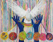 Anne Cameron Cutri Metal Prints - Prophetic Message Sketch 20 WHAT WOMAN WILL RISE UP    Yarn Hands Woven nest or bridge for Dove  Metal Print by Anne Cameron Cutri