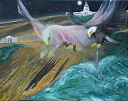Flooding Painting Prints - Prophetic MS 36 Two Eagles Camel through Eye of Needle Parable Print by Anne Cameron Cutri