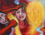 Child Jesus Paintings - Prophetic MS 37 Why Do You Strike Me? by Anne Cameron Cutri