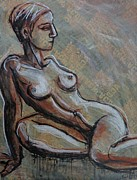 Resting Drawings - Propped 2 - Nudes Gallery by Carmen Tyrrell