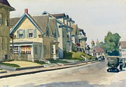Cards Vintage Painting Prints - Prospect Street Print by Edward Hopper